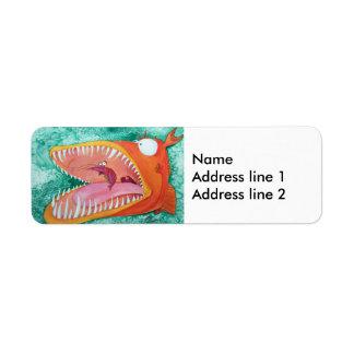 """Sneezer"" Fish With Attitude Return Address Label"