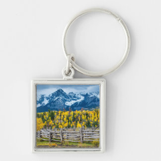 Sneffels Mountain Corral in the Fall - Colorado Silver-Colored Square Key Ring