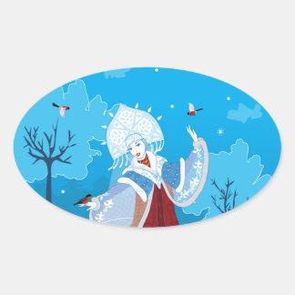 Snegurochka russian style illustration. Snowmaiden Oval Sticker