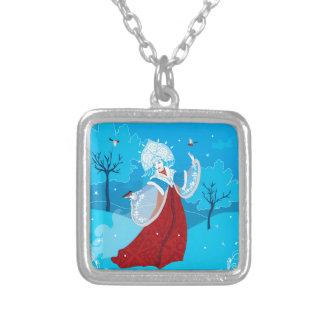 Snegurochka russian style illustration. Snowmaiden Silver Plated Necklace