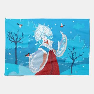 Snegurochka russian style illustration. Snowmaiden Tea Towel