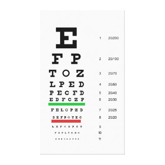 snellen chart opthalmology stretched canvas prints
