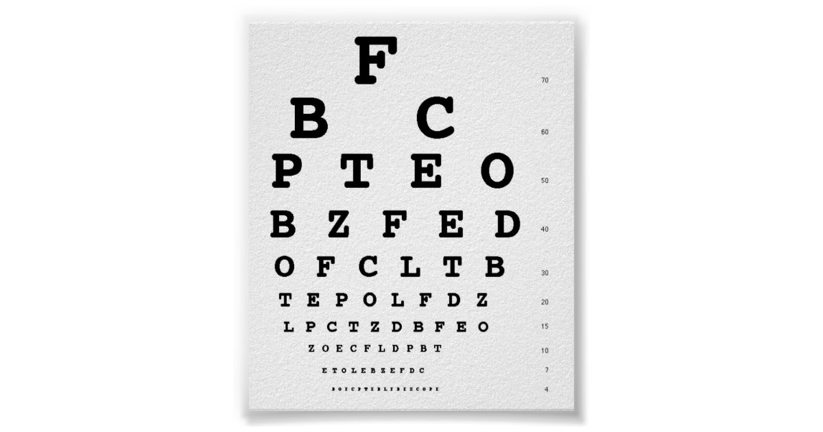 Snellen Eye Test Chart Zazzle Com Au