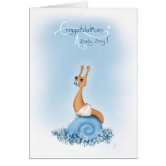 """Sneople"" Baby Boy  Snail in  Diaper Card"
