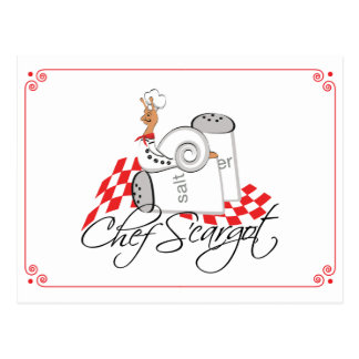 "Sneople ""Chef S'cargot""  snail on Salt & Pepper Postcard"