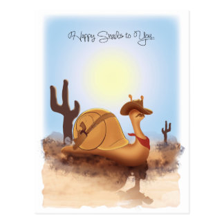"""""""Sneople"""" Cowboy Snail on a Journey Post Card"""