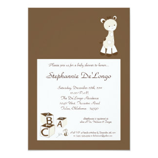 Snicker Doodle Giraffe Baby Shower Invitation