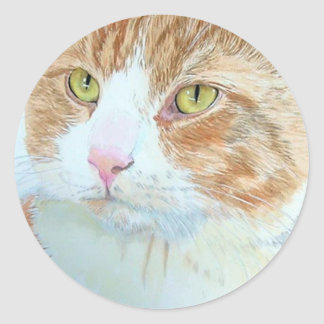 Snickers the Cat Round Stickers