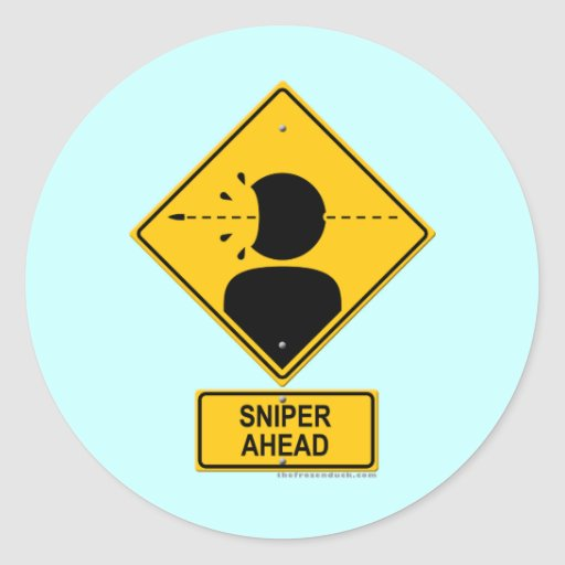 Sniper Ahead Warning Sign (Head Shot) Sticker