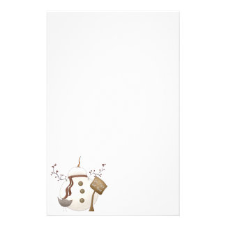 Sno Place Like Home Winter Snowman Design Personalised Stationery