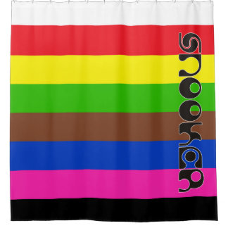 SNOOKER modern font & colored stripes + your ideas Shower Curtain