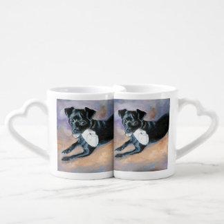Snoopy Black Rat Terrier Mix Dog Portrait Lovers Mug Set
