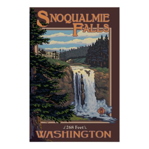 Snoqualmie Falls (Day) Washington Travel Poster
