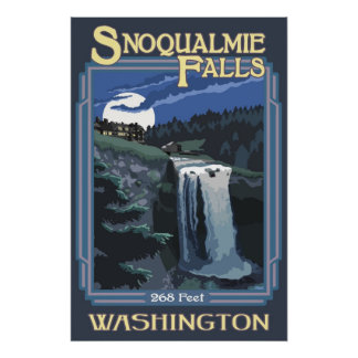 Snoqualmie Falls (Night) Washington Travel Poster