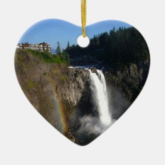 Snoqualmie Falls Washington Ceramic Heart Decoration