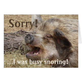 Snoring Boar Belated Birthday Card