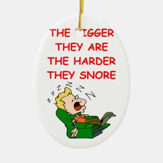 snoring ceramic ornament