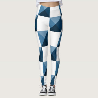Snorkel Blue 3D Illusion Checkered Pattern Leggings