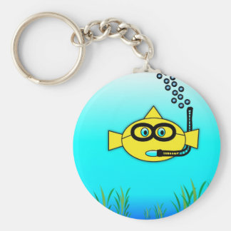 Snorkel Fish Basic Round Button Key Ring