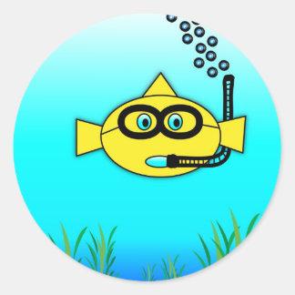 Snorkel Fish Round Sticker