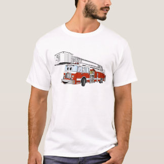 Snorkel Hook and Ladder Fire Truck Cartoon T-Shirt