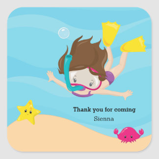 Snorkeling Square Sticker