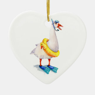 Snorkeling White Goose Ceramic Heart Decoration