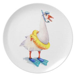 Snorkeling White Goose Dinner Plate