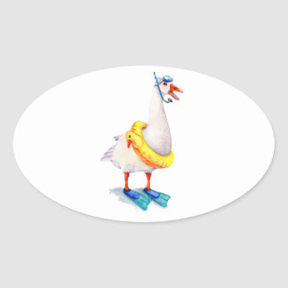 Snorkeling White Goose Oval Sticker