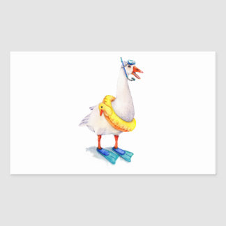 Snorkeling White Goose Rectangular Sticker
