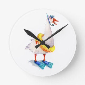 Snorkeling White Goose Round Clock