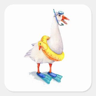 Snorkeling White Goose Square Sticker