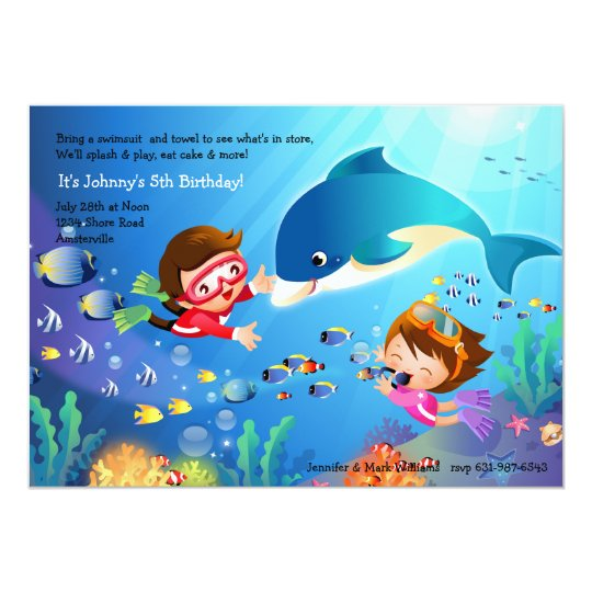 Snorkelling Tots Birthday Party Invitation