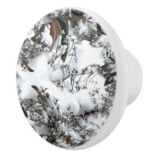 Snow Abstract Ceramic Knob