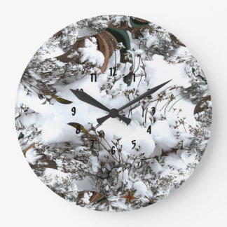 Snow Abstract Large Clock