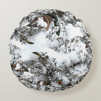 Snow Abstract Round Cushion