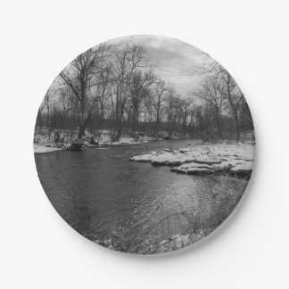 Snow Along James River Grayscale 7 Inch Paper Plate