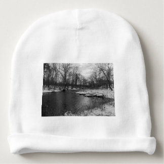 Snow Along James River Grayscale Baby Beanie