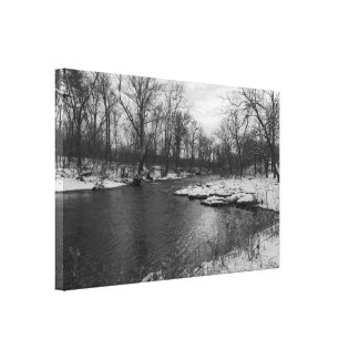 Snow Along James River Grayscale Canvas Print