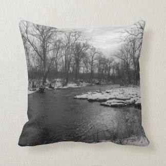 Snow Along James River Grayscale Cushion