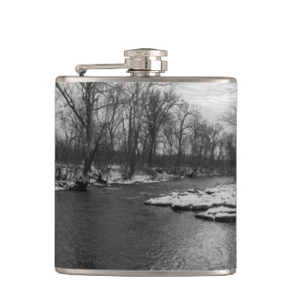 Snow Along James River Grayscale Hip Flask