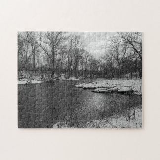 Snow Along James River Grayscale Jigsaw Puzzle