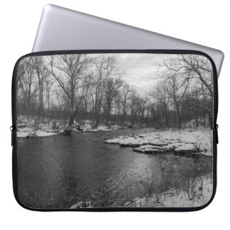 Snow Along James River Grayscale Laptop Sleeve
