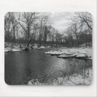 Snow Along James River Grayscale Mouse Pad