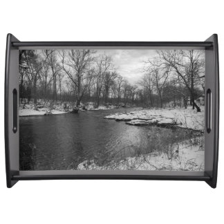 Snow Along James River Grayscale Serving Tray