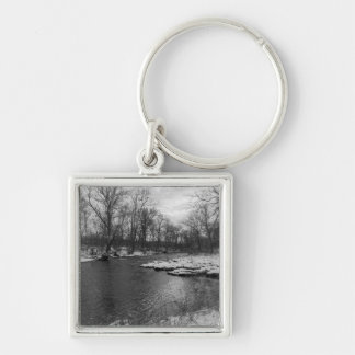 Snow Along James River Grayscale Silver-Colored Square Key Ring