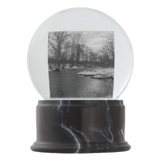 Snow Along James River Grayscale Snow Globe