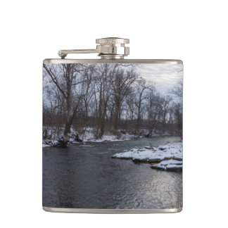 Snow Along James River Hip Flask