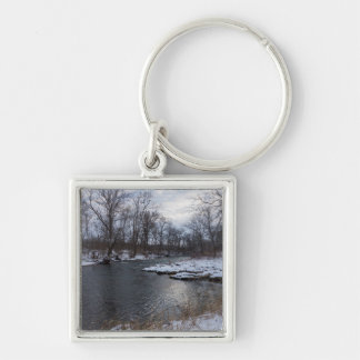 Snow Along James River Silver-Colored Square Key Ring