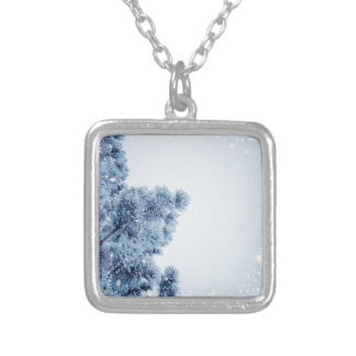 snow and Christmas tree Silver Plated Necklace